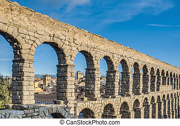 Aqueduct of Segovia at Castile and Leon, Spain - Ancient...
