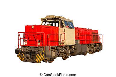 francés, guardagujas, locomotora, aislado, blanco,...