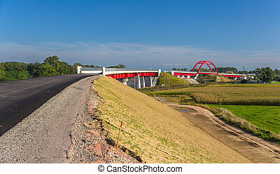 Construction of high-speed rail LGV Est near Strasbourg, France
