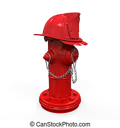 Fire Hydrant with Fireman Hat isolated on white background....