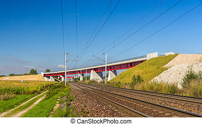Overpass of new hi-speed railway LGV Est near Strasbourg -...