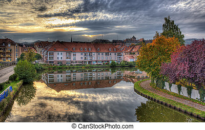 Marne - Rhine Canal in Saverne autumn evening