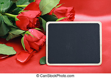 red roses and blac board