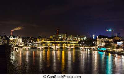 Night view of Rhine embankment in Basel - Switzerland