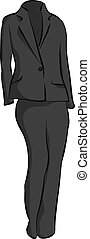 Female Business Suit - Sketch Illustration Of A Womens...