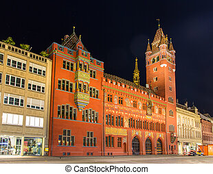 Basel Town Hall (Rathaus) at night - Switzerland