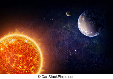 Planet Earth and sun - Planet Earth moon and sun Nasa...