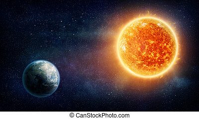 Planet Earth and sun - Planet Earth, sun and stars Nasa...