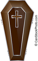 Brown Coffin Vector Illustration.