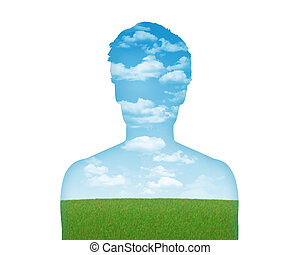 human nature earth and air - silhouette of a young man's...