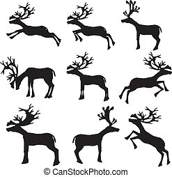 Collection of reindeer silhouette Vector illustration.