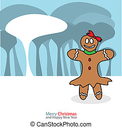 Gingerbread woman with christmas day on the night background...