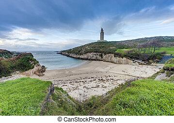 Lapas Beach in A Coruna, Galicia, Spain - Lapas Beach near...