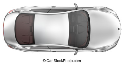Elegant sport coupe car - Top View - Sport coupe on a white...