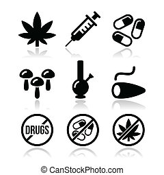 Drugs, addiction, marijuana icons - Vector icons set -...