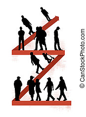 people walking on zigzag line - people of different ages...
