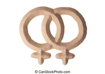 sand sculpture of male gay sign - two male signs figuring...