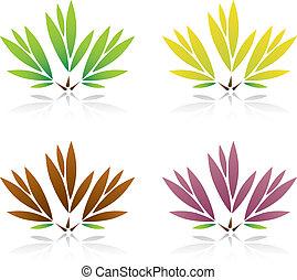 Collection of color leaf Vector Illustration.