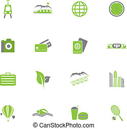 Set of green travel icons Vector Illustration.