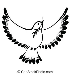 silhouette of a flying dove peace - vector, artistic,...