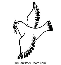 decorative silhouette of a flying dove peace - vector,...