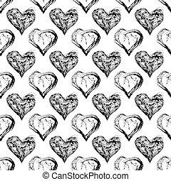 Abstract Valentine heart seamless pattern. Grunge splash...