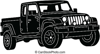 4x4 Truck - illustration of great 4x4 truck silhouette