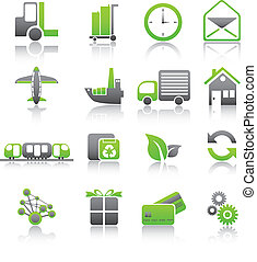 Set of shipping and freight green icons