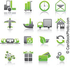 セット, 出荷, 貨物, 緑, アイコン