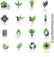 Set of environmental green icons.