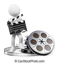3D white people. Clapper board and film reel - 3d white...
