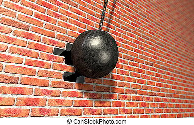 Wrecking Ball Hitting Wall - A regular metal wrecking ball...