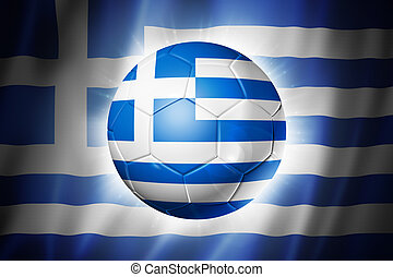 Soccer football ball with Greece flag