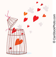 Love card with cage and heart - freedom concept