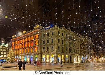 Paradeplatz and Bahnhofstrasse in Zurich decorated for...