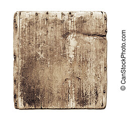 Old grunge wood board isolated on white with clipping path