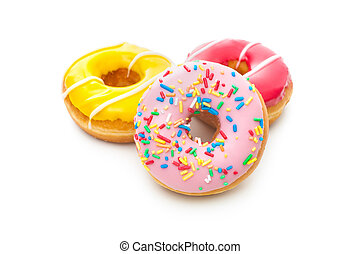 Delicious donuts with sprinkles - Group of glazed donuts,...