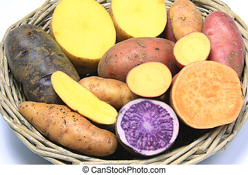 Colorful Potatoes - Many different varieties of potatoes,...