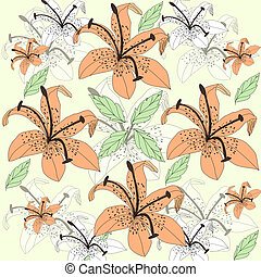 Original floral background with orange lilies and leaves
