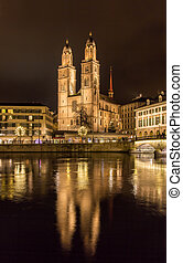 Grossmunster, a biggest church in Zurich, Switzerland