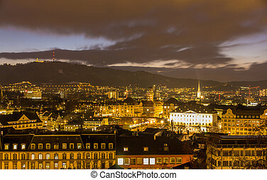 Night view of Zurich city center - Switzerland