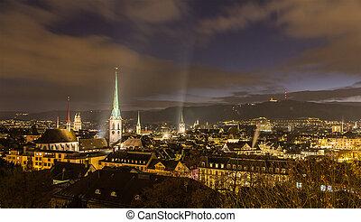 Night view of Zurich city center - Switzerland