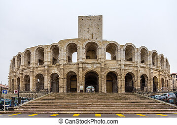 Roman amphitheatre in Arles - UNESCO world heritage in...