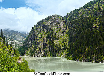 Summer mountain canyon and dam Alps, Switzerland - Lake with...