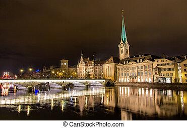 Old town of Zurich at night - Switzerland