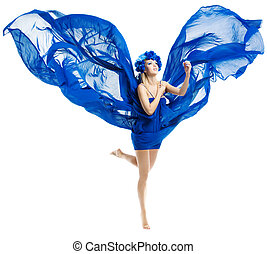 Woman in blue dress wings, waving fluttering fabric