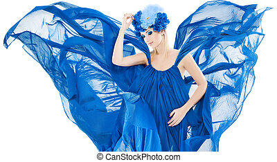 Woman in blue floral crown, dress flutterin and waving wins