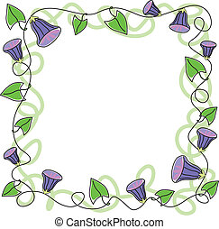Floral greeting border with purple flowers and leaves