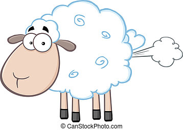 Cute White Sheep With Fart Cloud - Cute White Sheep Cartoon...