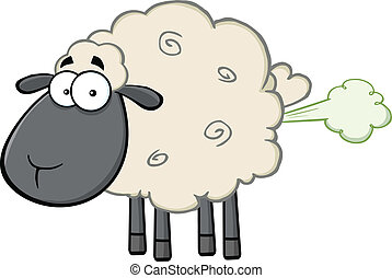 Black Head Sheep With Fart Cloud - Cute Black Head Sheep...